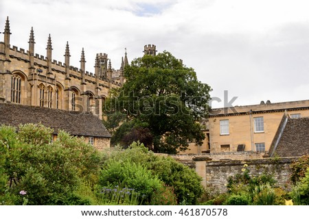 OXFORD, ENGLAND - JULY 10, 2016: War Memorial Garden, Christ Church college, Oxford, England. Oxford is known as the home of the University of Oxford