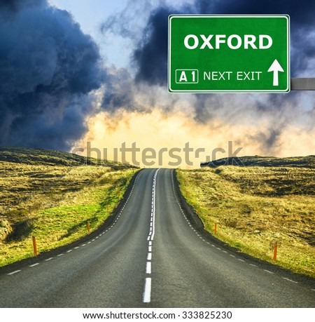 OXFORD road sign against clear blue sky - stock photo