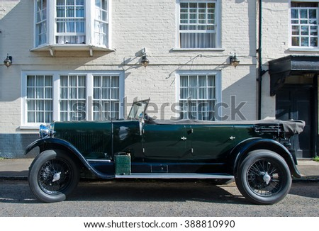 OXFORD,UK-APRIL 15,2015:Retro car parked on the street in Oxford. - stock photo
