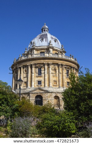 OXFORD, UK - AUGUST 12TH 2016: A view of the magnificent architecture of Radcliffe Camera designed by James Gibbs - the building is part of Oxford University, taken on 12th August 2016.