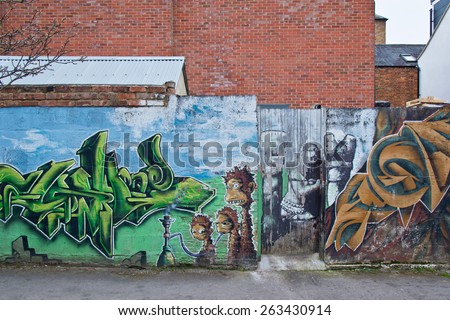 OXFORD, UK / CIRCA MARCH 2015 - Impressive graffiti made by unknown artist seen on Street public gallery - stock photo