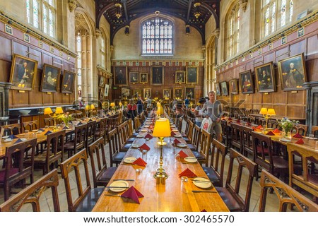OXFORD, UK - JULY 19, 2015:  The great hall of Christ Church, University of Oxford, England. It is the center of college life where academic community congregates to dine each day. - stock photo