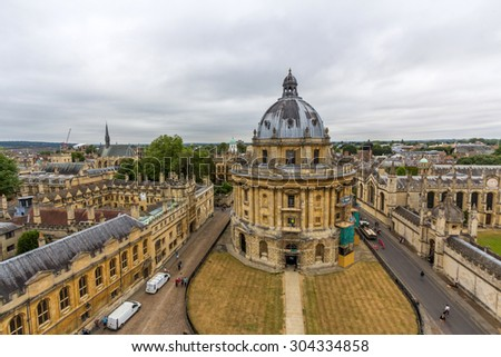 OXFORD, UK - MAY 20, 2015: The Radcliffe Camera is a building that houses the Radcliffe Science Library in the University of Oxford, England. - stock photo