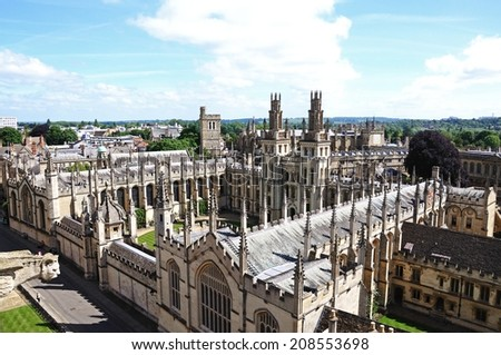 OXFORD, UNITED KINGDOM - JUNE 17, 2014 - Elevated view of All Souls College seen from the University church of St Mary spire, Oxford, Oxfordshire, England, UK, Western Europe, June 17, 2014.