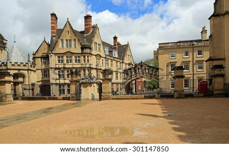 OXFORD, UNITED KINGDOM - JUNE:  The Bridge of Sighs connecting two buildings at Hertford College on June 2, 2015 in Oxford, England. - stock photo