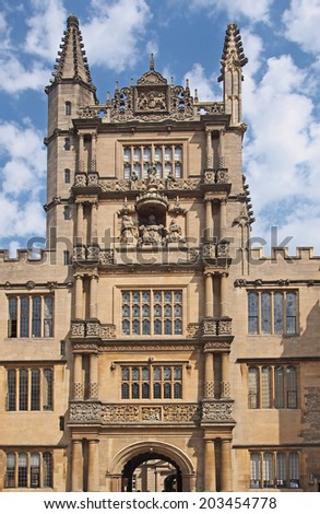 Oxford University, Bodleian Library Tower - stock photo