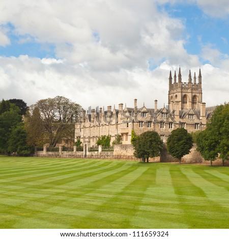 Oxford University playing fields - stock photo