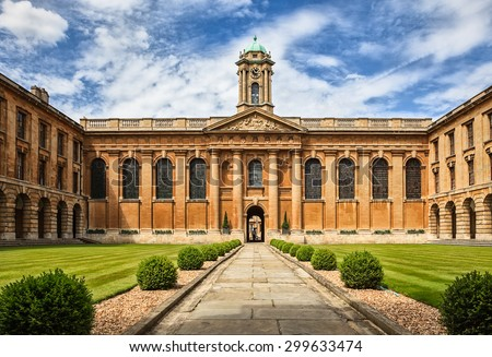 Oxford University_The Queen's College - stock photo
