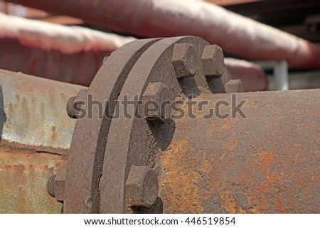 oxidize metal parts joint in the factory, closeup of photo