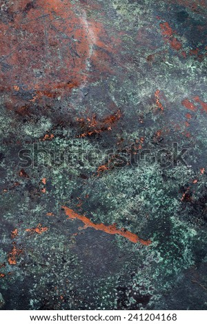 Oxidized Copper Plate Surface - stock photo