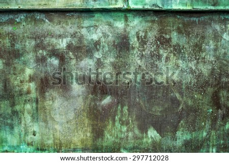 Oxidized Green Copper Metal Plate Texture as Industrial Rustic Background - stock photo