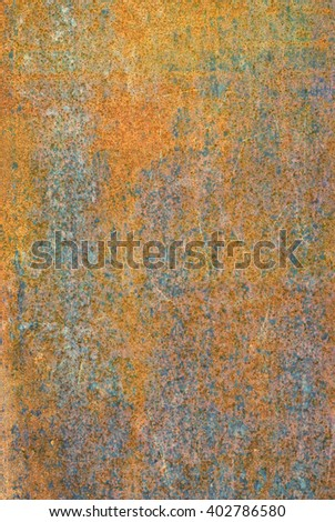 oxidized material - close up of a textured oxidized surface background design - brown and orange - stock photo