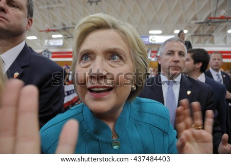 "OXNARD, CA - JUNE 04, 2016: former Secretary of State Hillary Clinton and Democratic Presidential Candidate meets supporters at a ""Get out the vote"" rally at Hueneme High School in Oxnard, California."