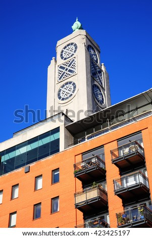 Oxo Tower, London, England, UK stands at the side of The River Thames at Southwark standing above luxury apartments, which was originally constructed at the end of the 19th century as power station
