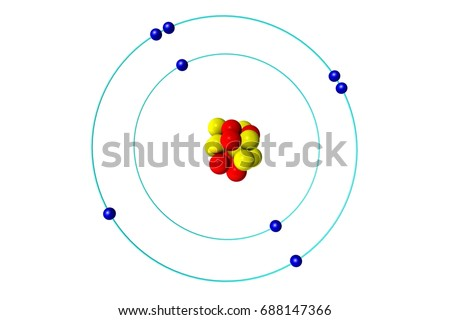 Oxygen Atom Proton Neutron Electron 3 D Stock Illustration 688147366
