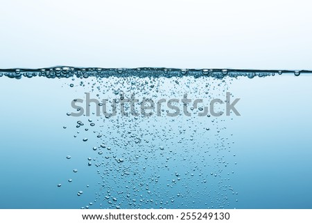 oxygen bubbels in water - stock photo