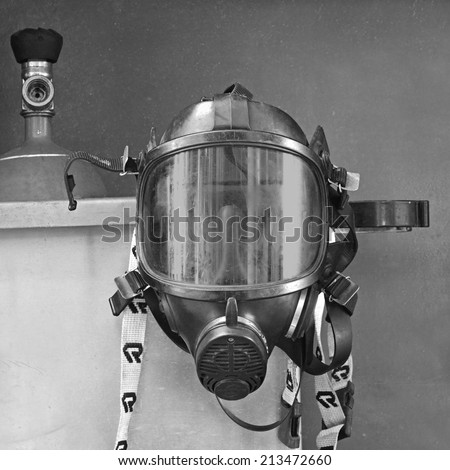 Oxygen mask , Gas mask , Firefighters mask of Firefighters in Thailand. Been through the use and very old  - stock photo