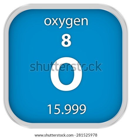 Oxygen material on the periodic table. Part of a series. - stock photo
