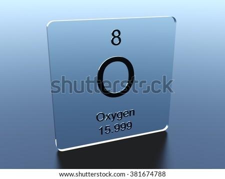 Oxygen symbol on a glass square - stock photo