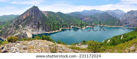 Oymapinar Dam built on the Manavgat river in Turkey in 1984 - stock photo