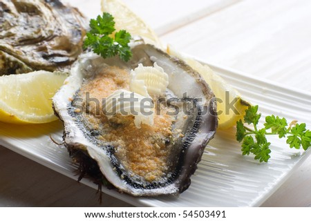 oyster ready to cooking au gratin - stock photo