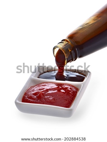 Oyster sauce and tomato sauce - stock photo