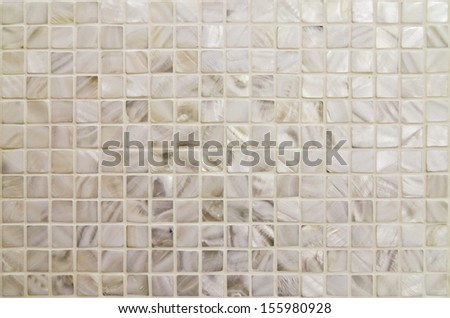 oyster shell textured mosaic tiles in neutral color - stock photo