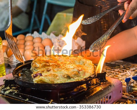 Oysters fried in egg batter , Oysters omelette,Fried Shell,Mussel - stock photo