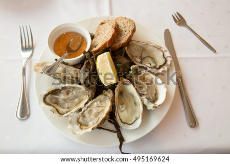 Oysters in a dish with bread, red vinegar and lemon
