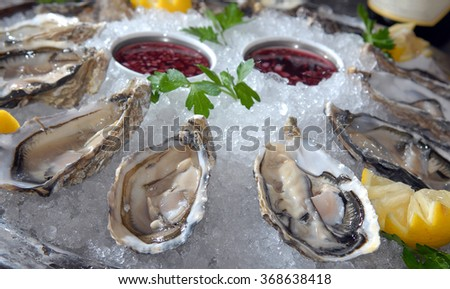 Oysters in ice with a lemon and sauce - stock photo