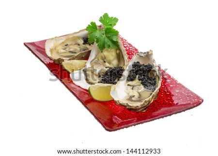 Oysters with black cavair