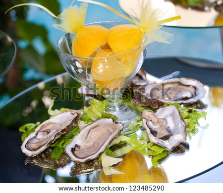 Oysters with lemons on mirror table