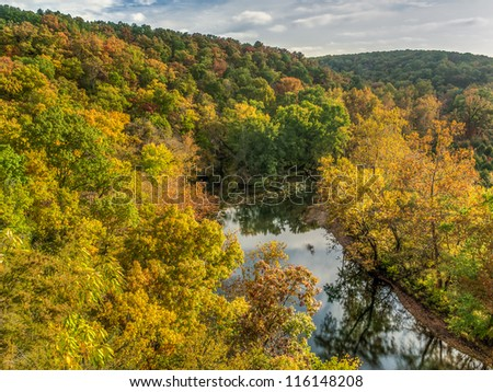 Ozark Hills in Fall Color - stock photo