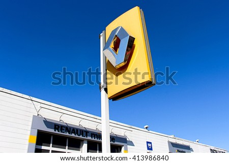 OZOIR LA FERRIERE, FRANCE - APRIL 30, 2016: Renault sign in Ozoir la Ferriere, France. Renault is a French car manufacturer. - stock photo