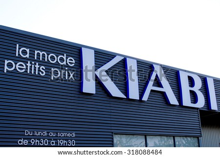 OZOIR LA FERRIERE, FRANCE - SEPTEMBER 5, 2015: Logo of the brand Kiabi in Ozoir la Ferriere, France. Kiabi is a French group loan distribution to wear.