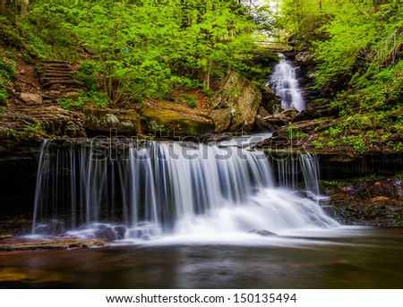 Ozone Falls on Kitchen Creek, in Glen Leigh, Ricketts Glen State Park, Pennsylvania. - stock photo