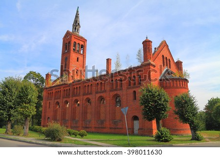 OZYORSK, KALININGRAD REGION, RUSSIA - SEPTEMBER 15, 2015: Lutheran church of Darkemen of 1842 of construction in the city of Ozyorsk in the Kaliningrad region