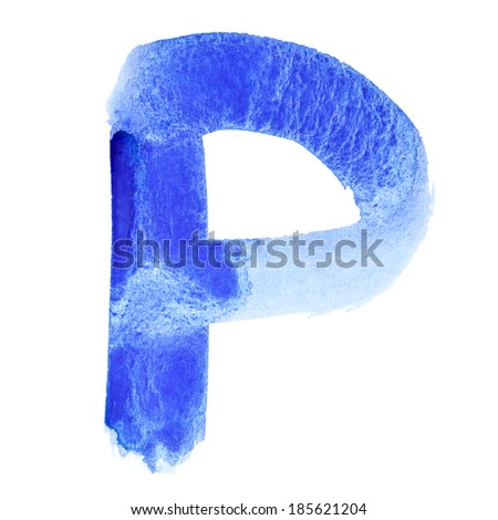 P - Watercolor letters over white background