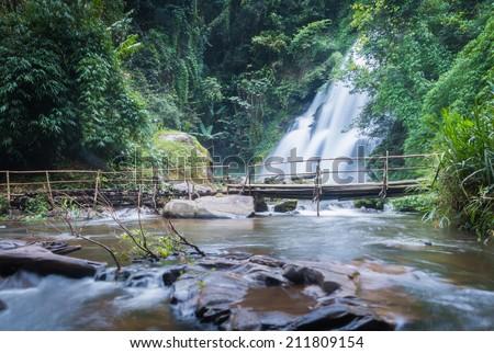 pa dok seaw beautiful waterfall of chaing mai, thailand - stock photo