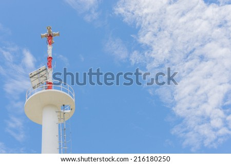 PA / Public Address system speakers, against a bright blue sky  - stock photo