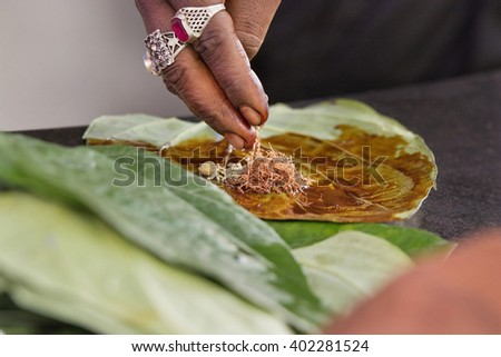 Paan is being prepared - stock photo