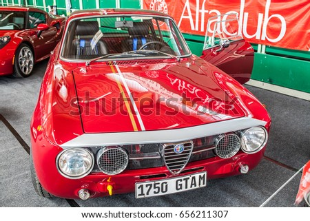 Paaren im Glien, Berlin, Germany, June 03, 2017, Oldtimer Show: ALFA ROMEO 1750 GTAm, glossy and shiny old classic retro auto