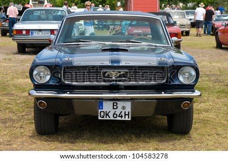 """PAAREN IM GLIEN, GERMANY - MAY 26: Cars Ford Mustang, """"The oldtimer show"""" in MAFZ, May 26, 2012 in Paaren im Glien, Germany - stock photo"""