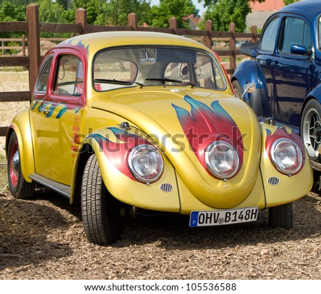 "PAAREN IM GLIEN, GERMANY - MAY 26: Cars Volkswagen Beetle, ""The oldtimer show"" in MAFZ, May 26, 2012 in Paaren im Glien, Germany - stock photo"