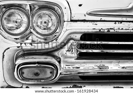 """PAAREN IM GLIEN, GERMANY - MAY 19: Headlights classic pickup truck Chevrolet Apache 31, """"The oldtimer show"""" in MAFZ, May 19, 2013 in Paaren im Glien, Germany - stock photo"""