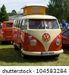 "PAAREN IM GLIEN, GERMANY - MAY 26: Minibus Volkswagen Transporter, T2 - Type 2, ""The oldtimer show"" in MAFZ, May 26, 2012 in Paaren im Glien, Germany - stock photo"