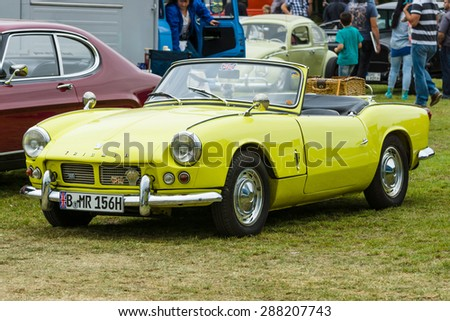 PAAREN IM GLIEN, GERMANY - MAY 23, 2015: Sports car Triumph Spitfire 4 Mark I. The oldtimer show in MAFZ.