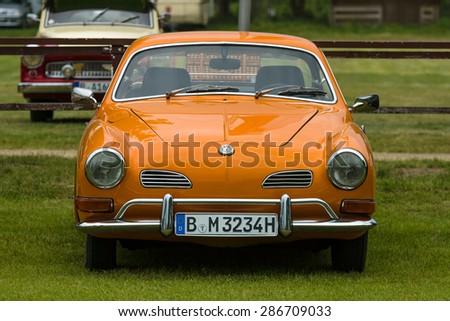 PAAREN IM GLIEN, GERMANY - MAY 23, 2015: Sports car Volkswagen Karmann Ghia. The oldtimer show in MAFZ.