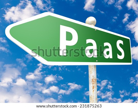 PaaS - Platform as a Service - street sign illustration in front of blue sky with clouds.