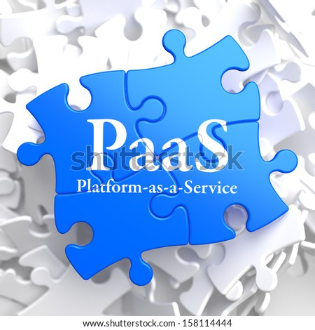 PAAS - Platform-as-a-Service - Written on Blue Puzzle Pieces. Information Technology Concept. 3D Render. - stock photo